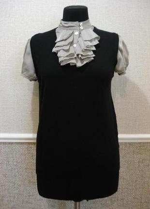 Нарядная блузка с жабо жилетка с блузкой-обманкой большого раз...