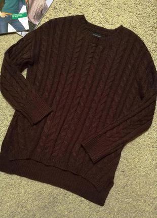 Atmosphere свитер с шерстью, вязка косичка, цвета бургунди
