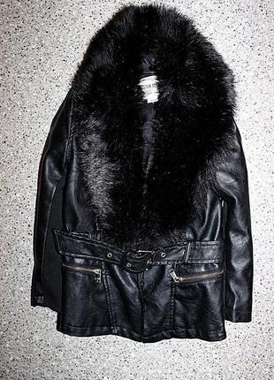 Куртка кожанка с мехом