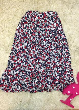 Цветочная хлопковая юбка большой размер батал
