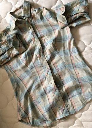 Стильная молодежная рубашка в клетку с длинным рукавом