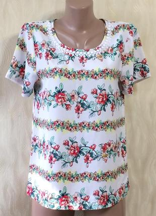 Симпатичная блуза с декором по горловине tu , р.10