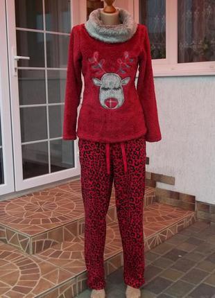 (46 р )флисовый домашний комбинезон костюм пижама