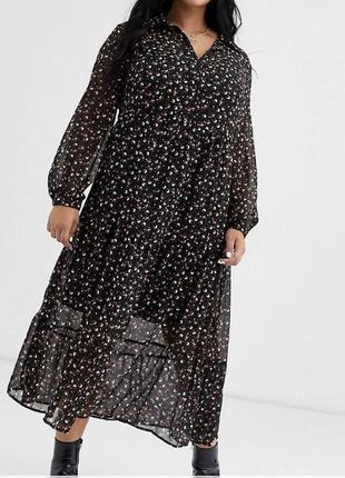 Шифоновое платье рубашка миди в цветочный принт батал asos, ма...