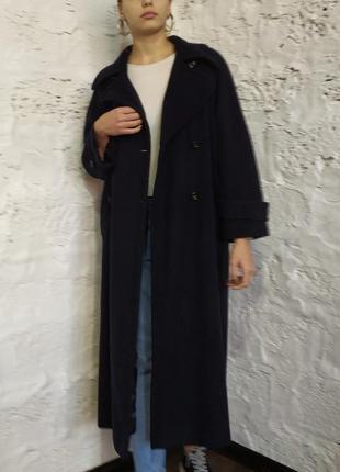 Пальто демисезонное шерсть кашемир тёмно-синее Lampert By Admyra