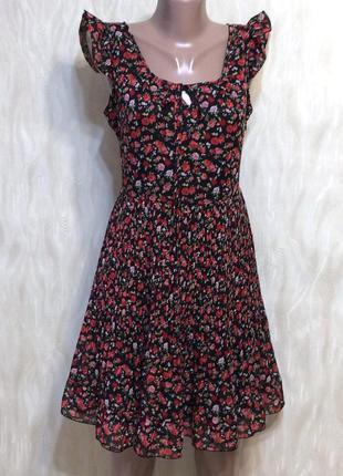 Платье с юбкой плисе в принт мелкие розы new look, р.12