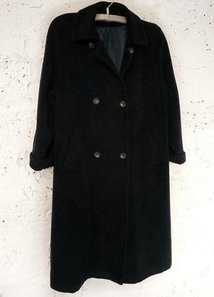 Демисезонное двубортное шерсть ангора тёмно-синее пальто