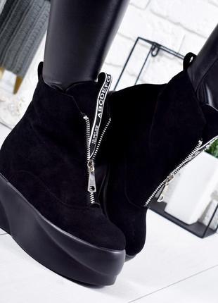❤ женские черные весенние деми ботинки ботильонв на высокой по...