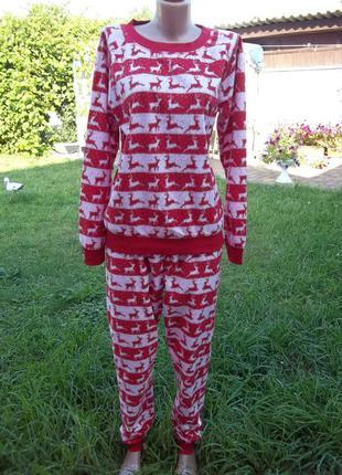 (46 / 48 р) флисовая  теплая пижама женская