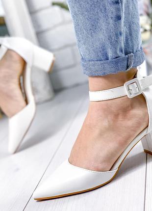 ❤ женские белые туфли на каблуке ❤