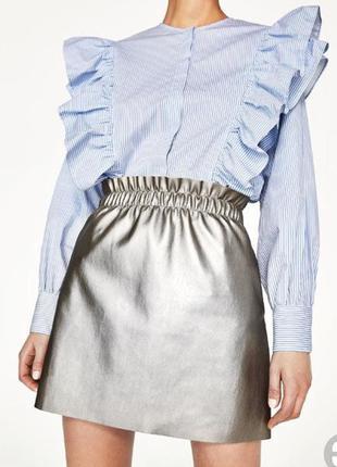 Новая серебряная юбка zara с бирками размер m-l