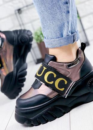 ❤ женские черные кроссовки  на высокой подошве❤