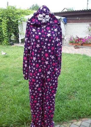 ( 52 / 54 р ) домашний флисовый комбинезон пижама кигуруми чел...