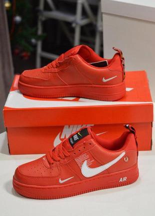Шикарные женские кожаные кроссовки nike air force 1 red 😍 (вес...
