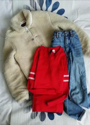 Джемпер в рубчик красный гольф красная кофта пуловер червоний ...