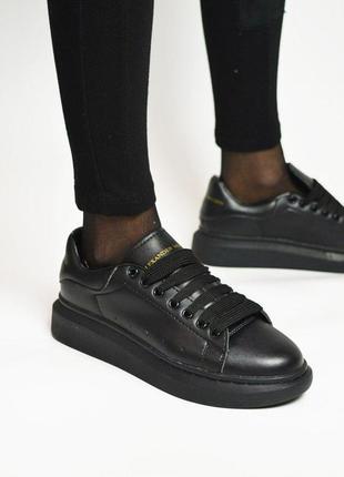 Шикарные женские кожаные кроссовки alexander mcqueen full blac...