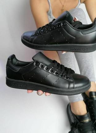Шикарные  кожаные кроссовки adidas stan smith full black унисе...