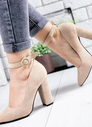 ❤ женские пудровые туфли на каблуке ❤