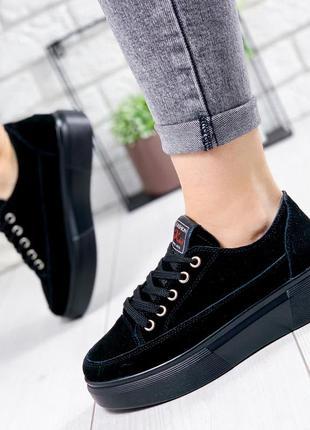 ❤ женские черные замшевые кроссовки ❤