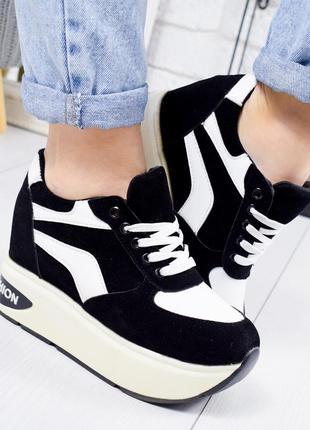 ❤ женские белые кроссовки на высокой подошве ❤