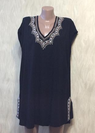 Блуза-туника черное с вышивкой danity, р.52-54