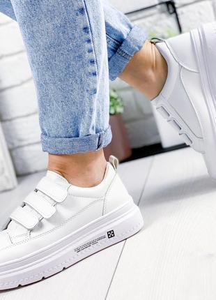 ❤ женские белые кроссовки на липучках ❤