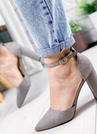 ❤ женские серые туфли на каблуке ❤