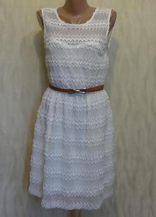 Нежное элегантное ажурное белое платье blue vanilla. р.10-12