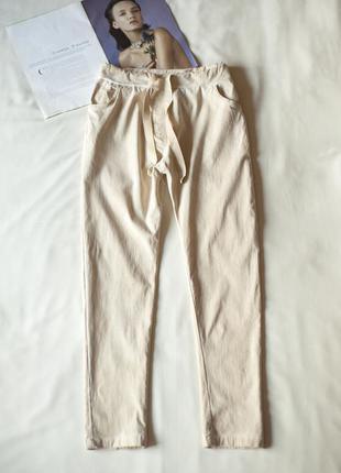 Светло-бежевые женские брюки джоггеры италия, размер м