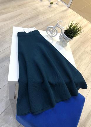 Расклешенная юбка миди цвета морской волны, трикотажная юбка т...