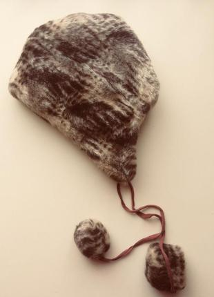 Зимняя меховая шапка на завязках с помпонами, украина, размер ...