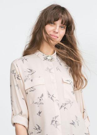 Блузка нюдового цвета в птички zara размер 12
