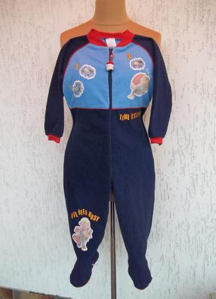 (3-4 года) флисовый теплый комбинезон пижама кигуруми слип