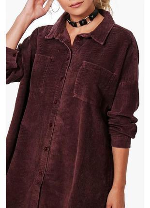 Рубашка вельветовая oversize с необработанным низом boohoo раз...