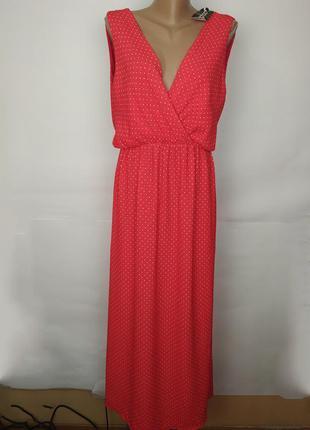 Платье новое мега модное красное в горошек uk 12/40/m