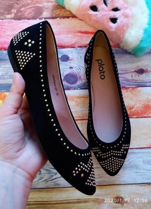 Чёрные 💣 классические туфли/балетки plato