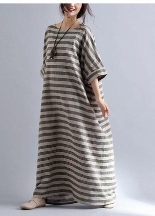 Модное платье макси👗 оверсайз в полоску ,misslook m-4xl
