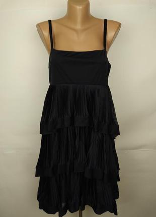Платье синие новое стильное с оборками плисе h&m uk 12/40/m