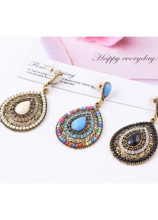 """Серьги в индийском стиле """"antique stones"""", 6 цветов"""