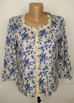 Блуза новая трикотажная в принт джерси laura ashley uk 12/40/m