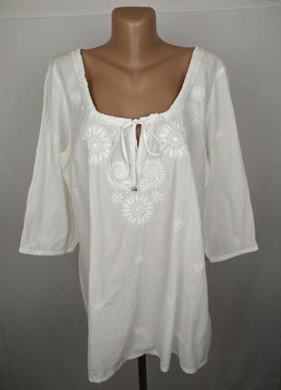 Блуза рубаха стильная белая хлопковая с вышивкой monsoon uk 16...