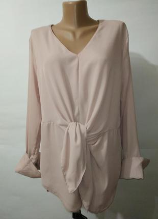 Блуза новая модная розовая с v-образным вырезом new look uk 16...