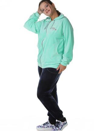 Женский спортивный костюм велюр с капюшоном 72473