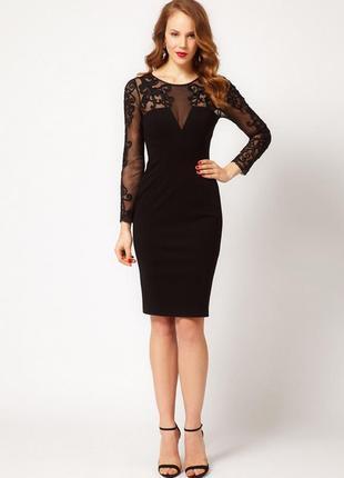 Маленькое черное платье с ажурной вставкой river island, р.8