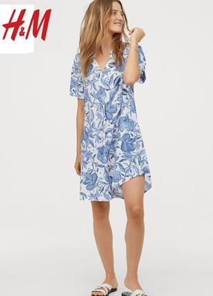 Вискозное платье туника в цветочный принт от h&m