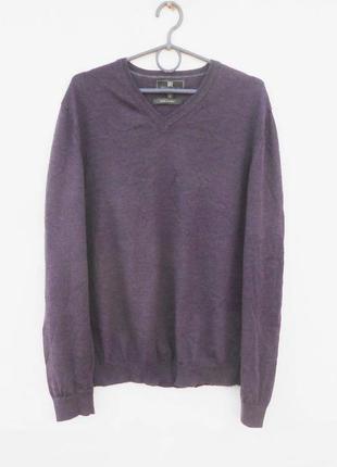 Мерино шерстяной  трикотажный свитер пуловер джемпер с шелком ...