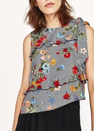 Клетчатый топ блуза асимметрия с рюшами цветочный принт