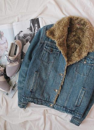Теплая шерпа/джинсовая куртка/джинсовка с мехом утепленная nok...