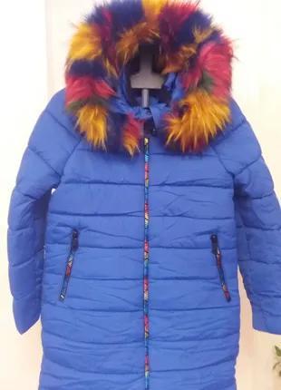 Куртка пальто зимнее для девочки р.146-152см