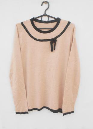 Бежевый трикотажный осенний зимний свитер джемпер с шерстью